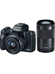 Canon EOS M50 Aparat Foto Mirrorless 24MP Kit cu Obiectivele EF-M 15-45mm f/3.5-6.3 IS STM +EF-M 55-200mm f/4.5-6.3 IS STM Negru